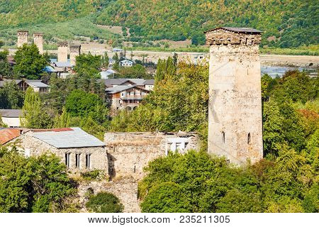 Svan Towers In Mestia, Svaneti Region, Georgia. It Is A Highland Townlet In Northwest Georgia, At An