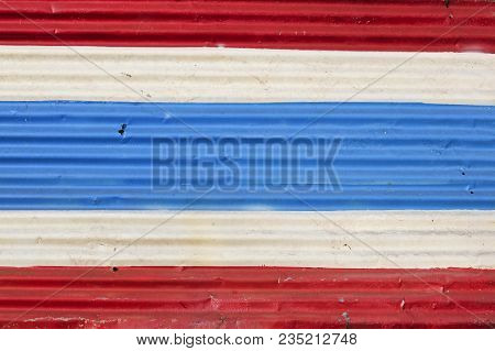 Thai Flag Painted Onto Old Corrugated Iron Metal Wall Panel In Koh Lanta Old Town