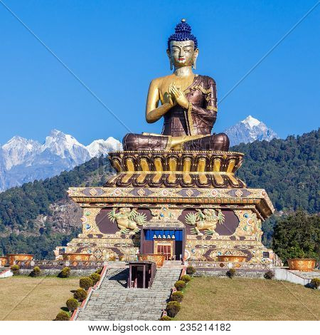 130 Foot High Statue Of The Buddha Is Located In Buddha Park In Ravangla, India