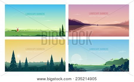 Collection Of Horizontal Banner Templates With Spectacular Natural Landscapes Or Sceneries. Bundle O