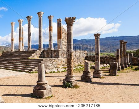 Volubilis near Meknes in Morocco. Volubilis is a ruined Amazigh, then Roman city in Morocco near Meknes, UNESCO World Heritage Site. poster