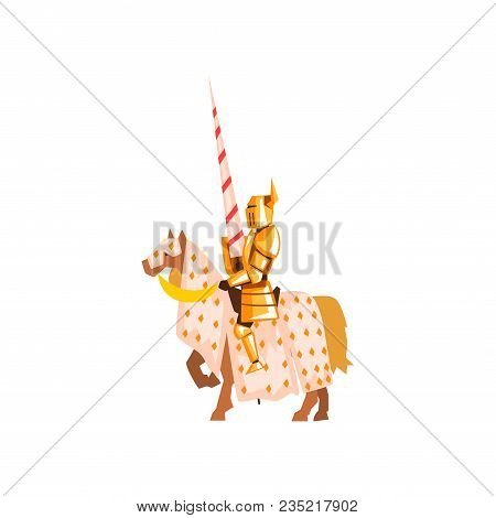 Medieval Knight Riding Horse Holding Striped Lance. Brave Warrior In Golden Armor. Jousting Tourname
