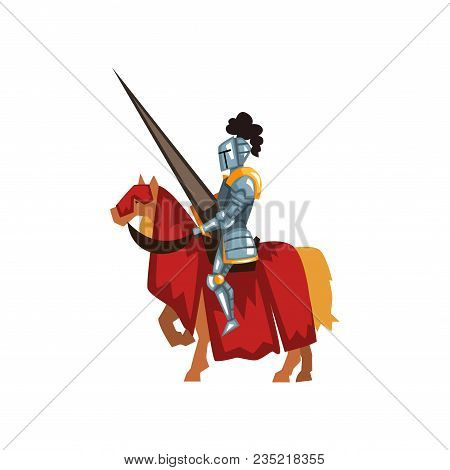 Valorous Knight Riding Horse With Lance In Hand. Royal Guardian In Shiny Armor. Medieval Sports Tour