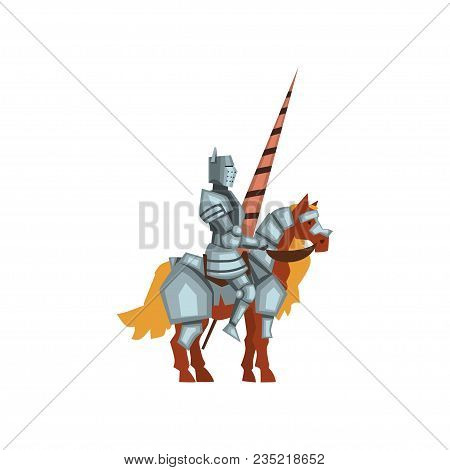 Cartoon Illustration Of Royal Knight On Horseback With Lance In Hand. Brave Warrior Wearing Shiny Ir