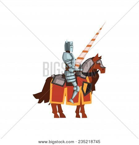 Knight From The Middle Ages Sitting On Horseback With Lance In Hand. Cartoon Character Of Brave Warr