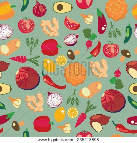 Vector Background Of Fresh And Healthy Food. Vegetables Pattern In Flat Style, Healthy Eat Concept.