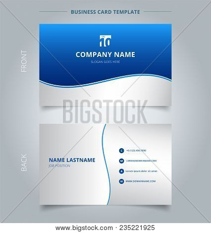 Creative Business Card And Name Card Template, Stripe Wave Lines Graphic Blue And White Gradient Col