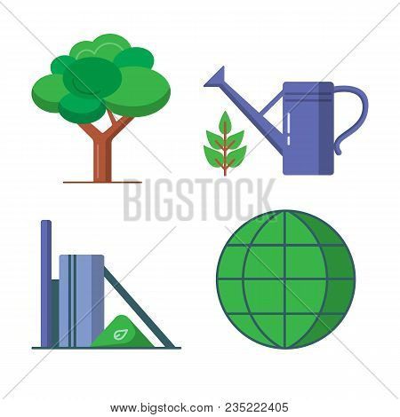 Ecology Icons Set In Flat Style - Tree, Watering Can, Green Globe And Recycling Plant. Eco Symbols I