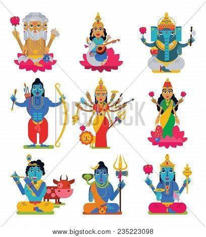 Indian God Vector Hindu Godhead Of Goddess And Hinduism Godlike Idol Ganesha In India Illustration S
