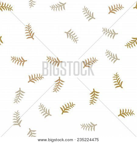 Pattern Tree Branches On White Background. Twig Tree Seamless Pattern. Bare Branches On White Patter