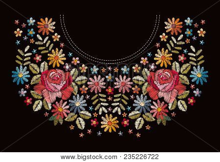 Embroidery Floral Neckline Pattern. Beautiful Colorful Flowers. Fashion Design.