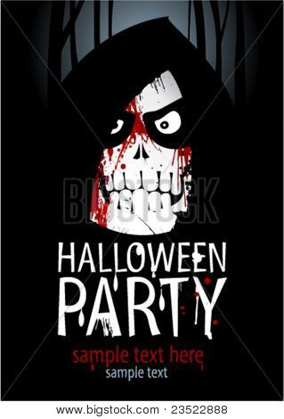 Halloween Party Design template, with death and place for text.