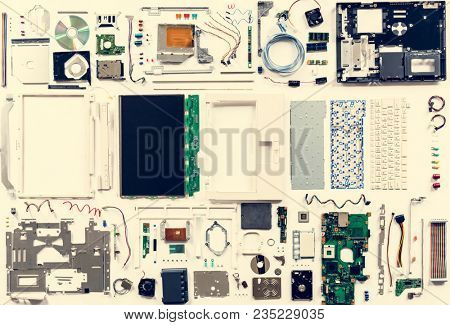 Computer hardware parts flat lay isolated on white