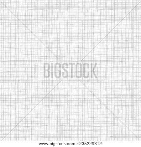 Grey Canvas Burlap Texture, Seamless Checkered Pattern. Gray Linen Fabric Textile. Vector Background
