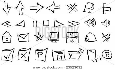 Freehand Vector Navigation Icons