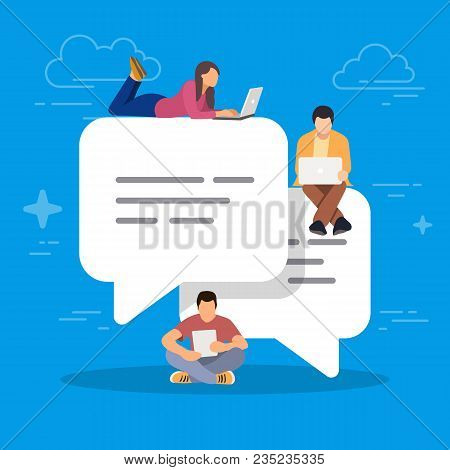 Speech Bubbles For Comment And Reply. Young People Using Mobile Smartphone For Texting And Leaving C