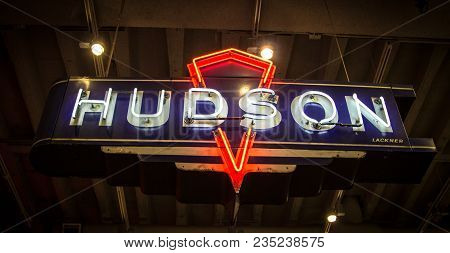 Detroit, Michigan, Usa - March 28, 2018: Neon Sign From The Hudson Car Company. The Car Maker Produc