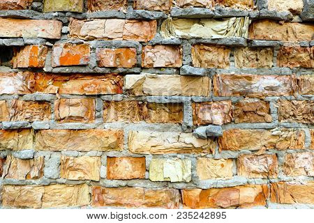 Old Destroyed Red Brick Wall Background Texture. Broken Building Stone Construction