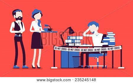 Do Not Cross Office Tape Near The Hardworking Manager Desk. Exhaust With Too Much Work, Weary Stress