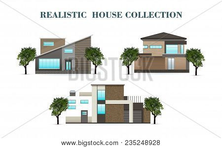 Set Of Houses, Residential House, Realistic House With A Shadow. Flat Design, Vector Illustration, V