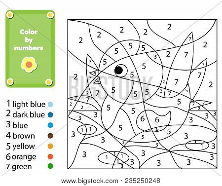 Children Educational Game. Coloring Page With Duck. Color By Numbers, Printable Activity, Worksheet