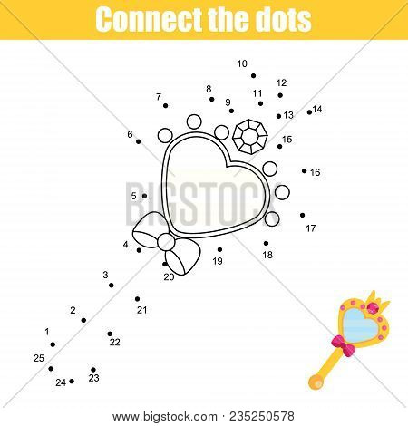 Connect The Dots Children Educational Drawing Game. Dot To Dot By Numbers Game For Kids. Printable W