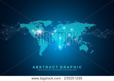 World Map Point With Global Technology Networking Concept. Digital Data Visualization. Lines Plexus.