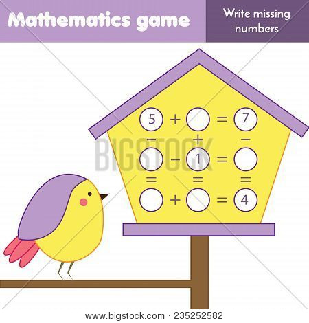 Math Educational Game For Children. Counting Equations. Study Subtraction And Addition. Mathematics