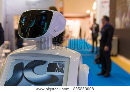 Promo Robot To Work At Exhibitions. The Robot-guide. Modern Technologies In Advertising, Promotion A