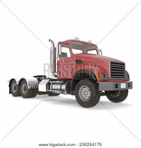 Red Truck Isolated On White Background. 3d Illustration