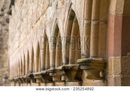 Details of the walls of Bolton Abbey in the Yorkshire Dales, United Kingdom