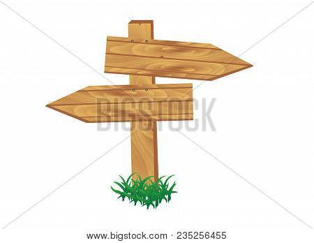 Wooden Signpost Standing In Grass Set Isolated On White Background Vector Illustration. Round, Squar