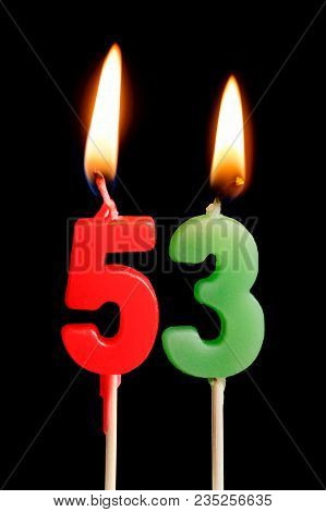 Burning Candles In The Form Of 53 Fifty Three (numbers, Dates) For Cake Isolated On Black Background