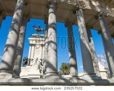 Monument To Alfonso Xii In Buen Retiro Park On Sunny Day, Madrid, Spain. El Retiro Is The Largest Pa