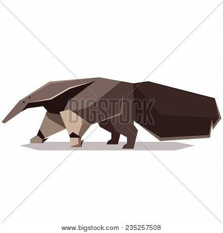 Vector Image Of The Flat Polygonal Giant Anteater