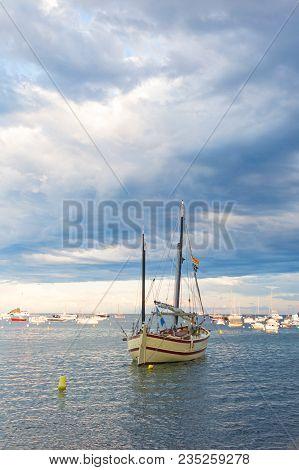 Tourist Boat In The Port Of Cadaques, Costa Brava, Province Girona, Catalonia, Spain