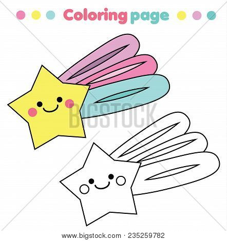 Coloring Page. Educational Children Game With Cute Kawaii Star. Drawing Printable Activity For Kids,