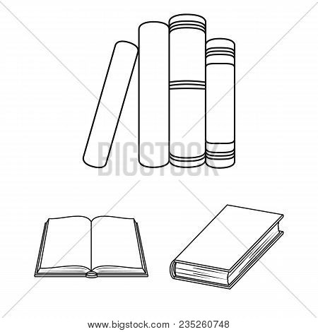 Book Bound Outline Icons In Set Collection For Design. Printed Products Vector Symbol Stock  Illustr