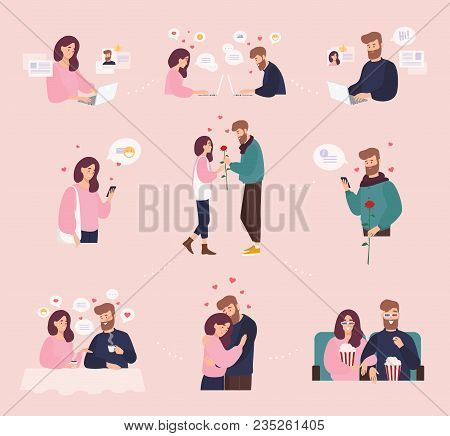 Collection Of Man And Woman Using Website Or Mobile Application For Dating Or Searching For Romantic