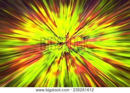 Psychedelic Hypnotic Unrealistic Abstract Speedy Yellow Green Red Background, Motion Blur Effect, Zo