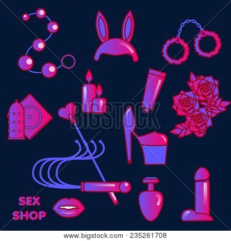 Sex Shop Icons. Erotic Symbols. Adult Games And Toys Stickers