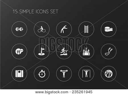 Set Of 15 Editable Lifestyle Icons. Includes Symbols Such As Measure Tape, Diet, Dumbbell And More.