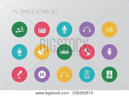 Set Of 15 Editable Song Icons. Includes Symbols Such As Headsets, Note, Cd And More. Can Be Used For