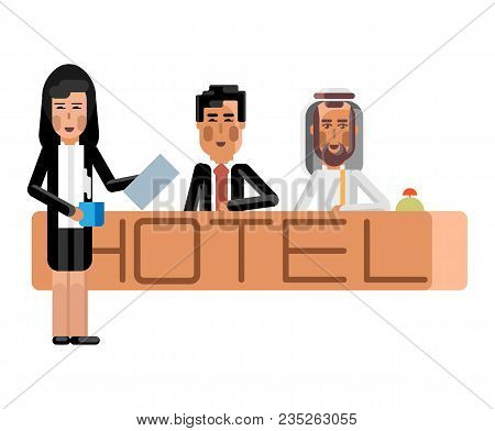 Arabic And Asian Receptionists At Hotel Reception Desk, Secretary With Document And Coffee Cup. Corp
