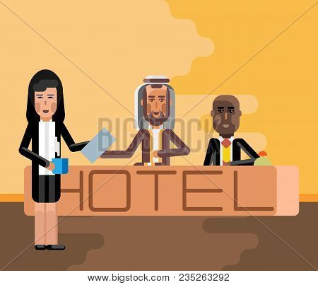 Arabic And African Receptionists At Hotel Reception Desk, Asian Secretary With Document And Coffee C
