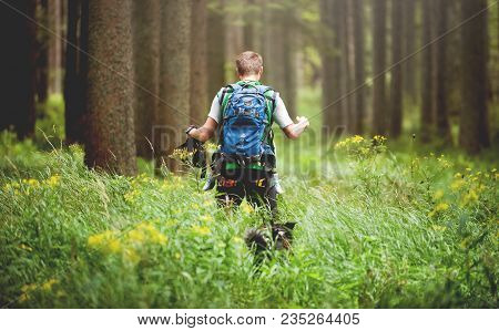 Bohemian Forest, Czech Republic, August 2016: The Man Going In Wood Through High Grass. Black And Wh