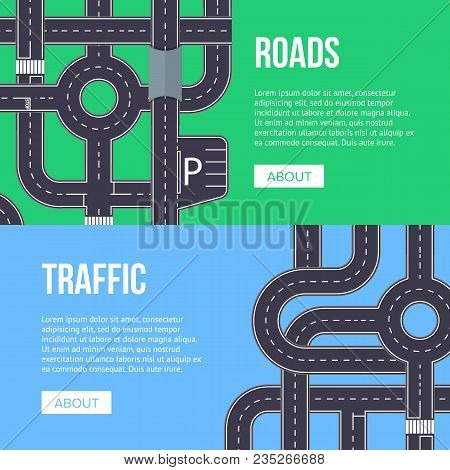 City Traffic Banner With Highway Roads. Urban Transportation Infrastructure Concepts. Crossing Roads