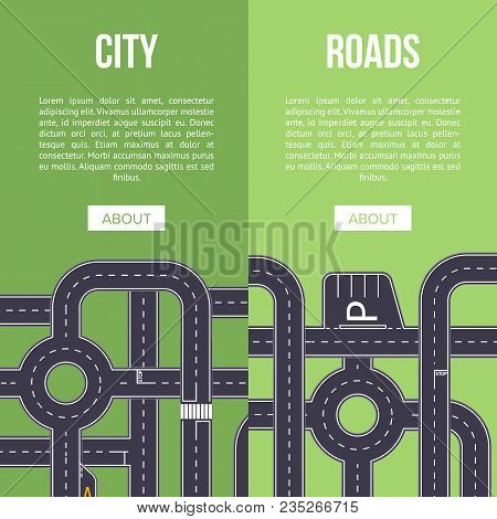 Highway Traffic Banner With Crossing Roads. Urban Transportation Infrastructure Concepts. Roads Cons