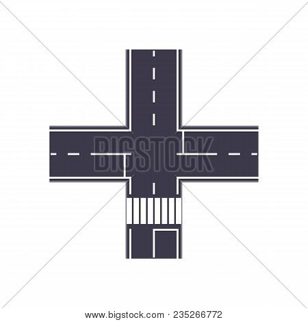 City Crossroad Isolated Map Segment. Auto Traffic Element, Highway Construction Vector Illustration.