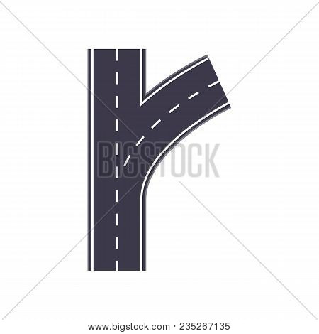 City Fork Roads Isolated Map Segment. Auto Traffic Element, Highway Construction Vector Illustration